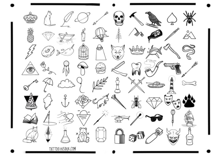 small meaningful tattoos, drawn in black, on a white template sheet, crown and cat, pineapple and lightning, and many others