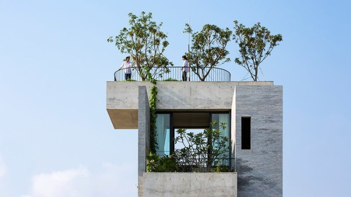 concrete architecture, rectangular building with a balcony, and a roof terrace, with selevral small trees, and other plants