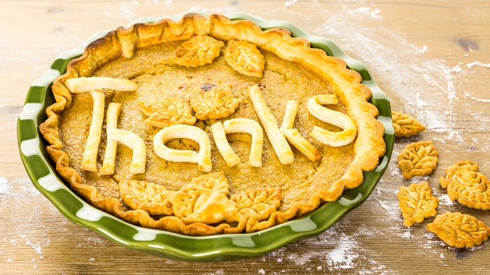 pie decorated with leaves made of dough, and the word thanks, in a green and white ornamental dish, thanksgiving messages for friends