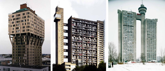 residential buildings in brutalist style, three examples from europe, multi-storey tower-like structures, with many windows