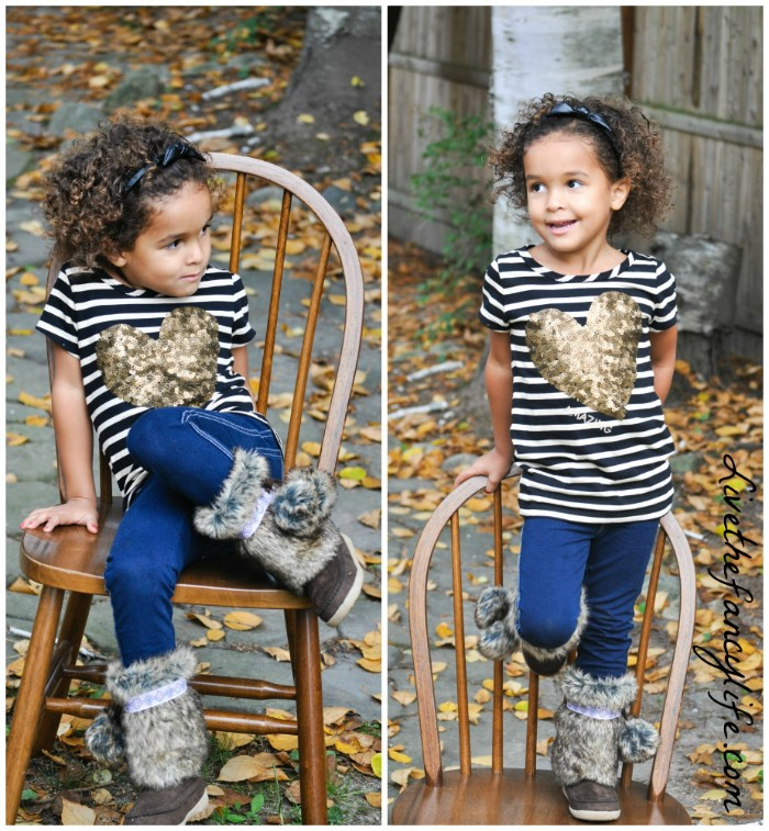 sequin heart in gold, on a striped lond t-shirt, in black and white, worn over ink blue skinny jeans, girls thanksgiving outfit, grey fur boots