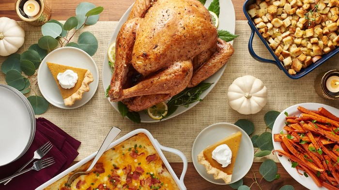 croutons and sweet potato fries, on a table near a roast turkey, pie and other dishes, thanksgiving messages for friends, white plates and silver forks
