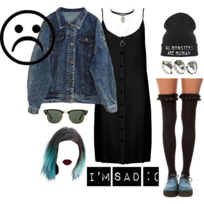 beanie hat in black, with a white print, acid wash blue denim jacket, black strappy midi dress, with button down detail, over-the-knee-socks, pale blue loafers, and a few accessories