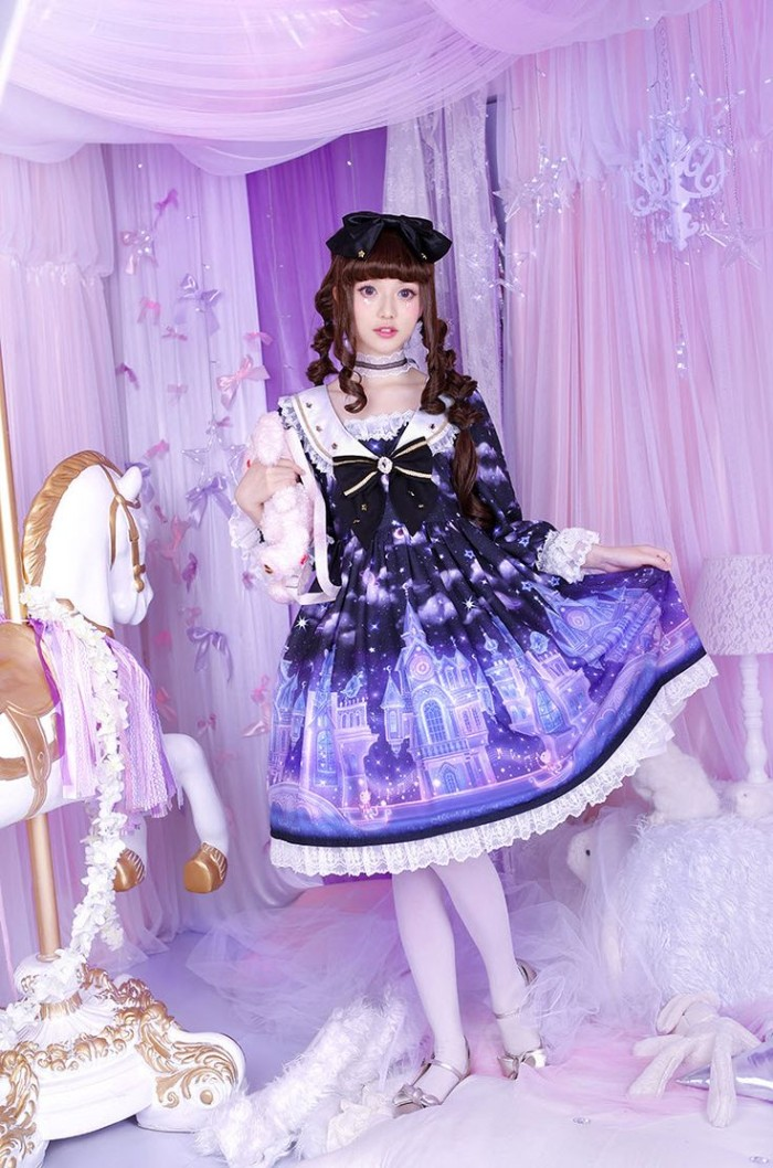 carousel near a young woman, dressed in a violet dress, with lace trims, a sailor-style collar, and a dark blue bow, what is lolita, white opaque tights
