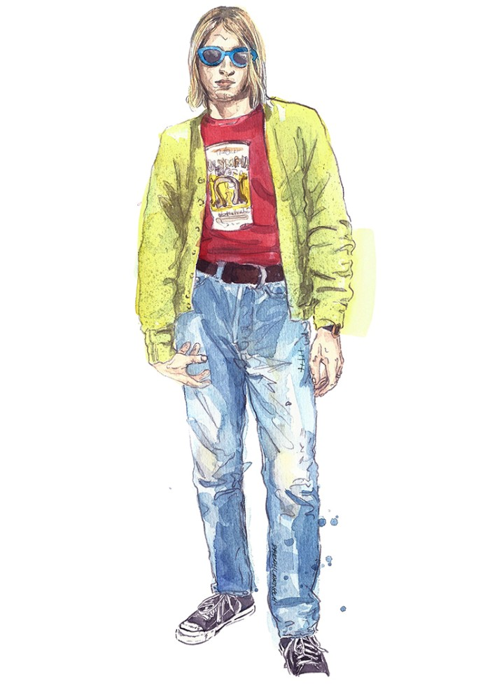 illustration of kurt cobain, made with watercolors, wearing blue jeans, a red t-shirt with a graphic print, a yellow cardigan, classic converse sneakers, and blue-rimmed sumnglasses, 90s bands