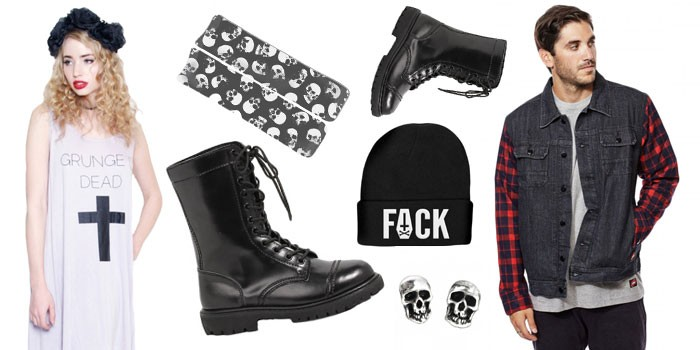 curly blond woman, dressed in a pale grey, strappy a-line dress, featuring a black cross, and the words grunge dead, man with a dark grey denim jacket, with plaid sleeves, grunge definition, black combat boots, and various accessories