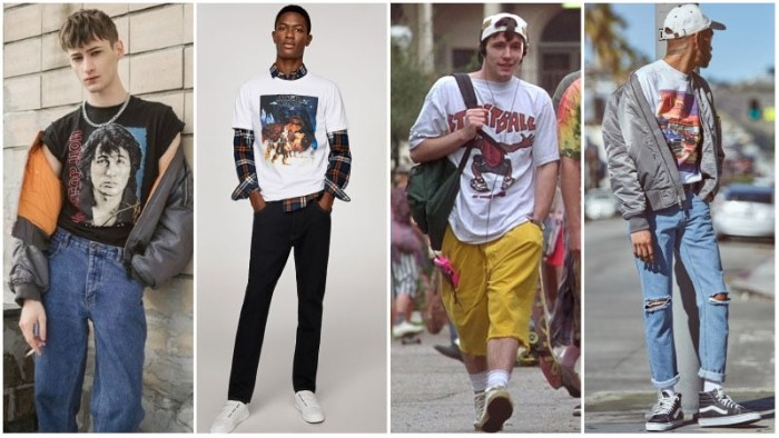 four young men, dressed in grunge, 90s-inspired outfits, baggy stone wash jeans, and a band t-shirt, plaid shirt and skinny jeans, capris and a printed tee, and many others