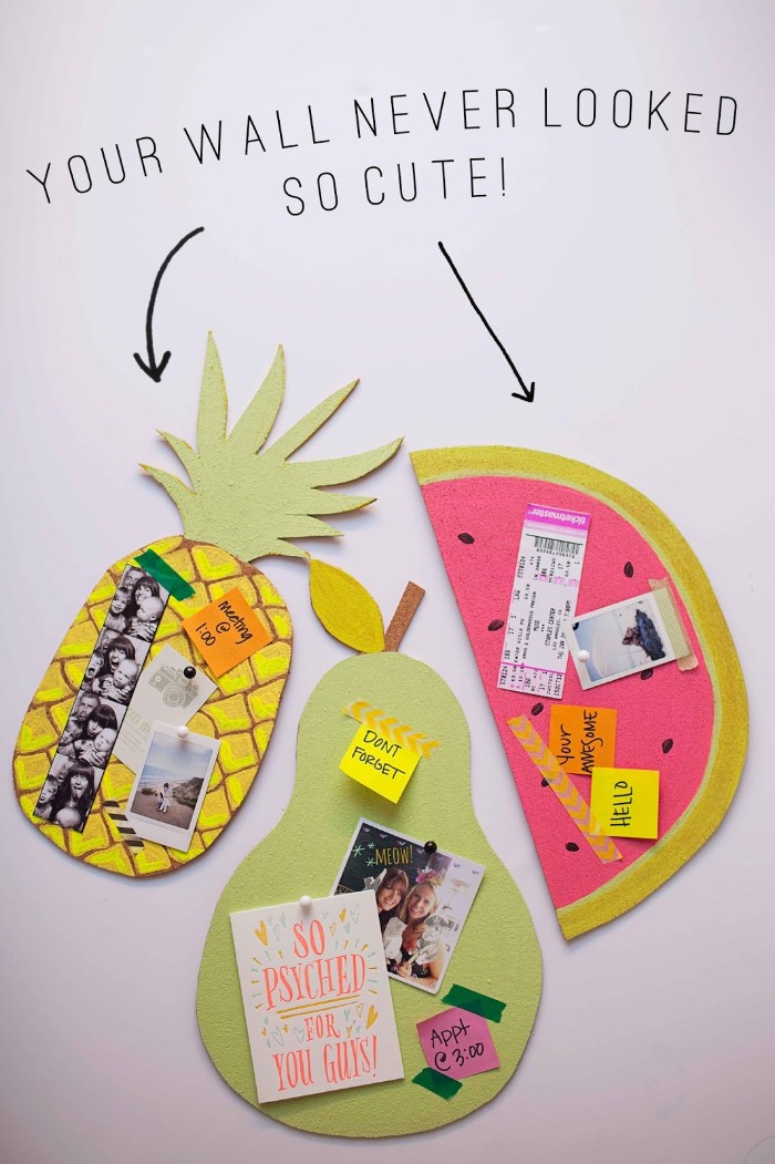 handmade bulletin boards, shaped like different fruit, diys for your room, decorated with post-it notes, photos and tickets