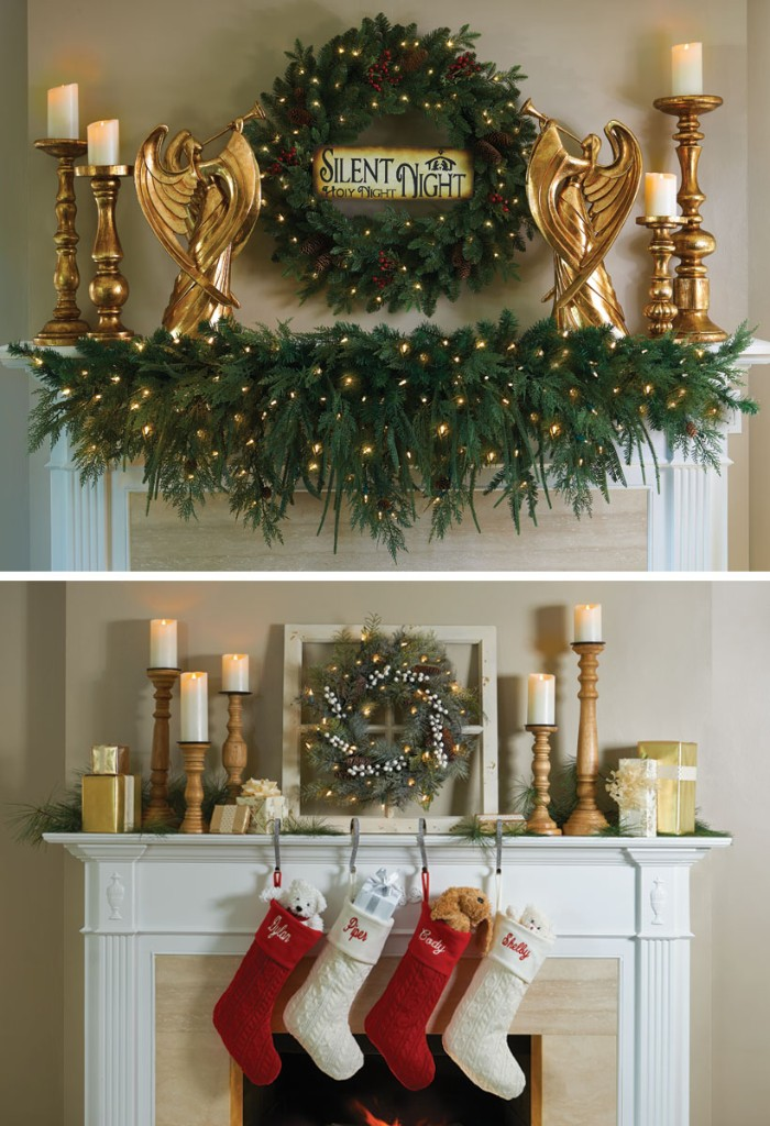 two holiday images, showing different ideas, for decorating your mantelpiece, candlesticks and angel figurines in gold, near a pine wreath, decorated with glowing fairy lights, stockings in red and white, and a small pine wreath
