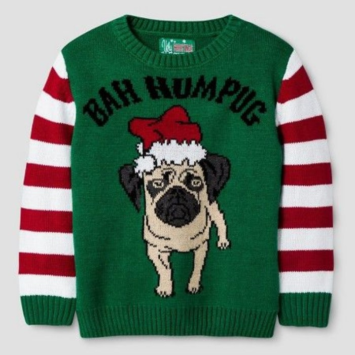 ugly sweater ideas, green jumper with white and red striped sleeves, and an image of a pug in a santa's hat, with the words bah humpug in black