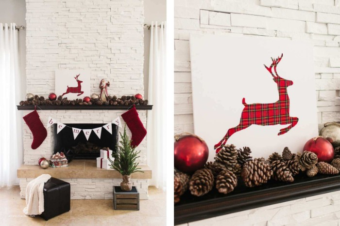 artwork of a running deer, with a red plaid pattern, on a white canvas, decorating a christmas fireplace, pine cones and red baubles, a banner and two stockings