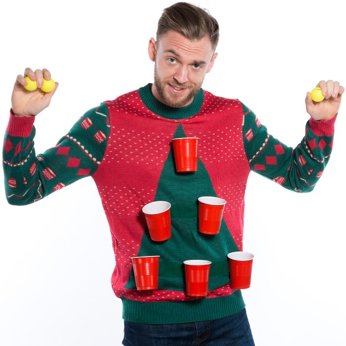 six red plastic cups, stuck on a red jumper, with a large green triangle, resembling a christmas tree, ugly sweater ideas, worn by a man, holding several yellow beer pong balls