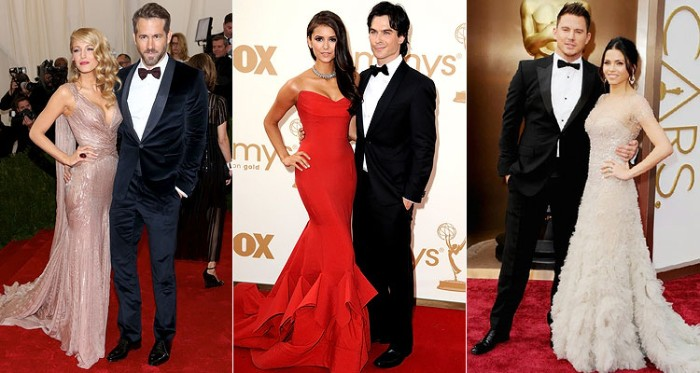 stars on the red carpet, dress with formal black suits, with white shirts and bowties, cocktail attire wedding, long gowns in pale pink and red