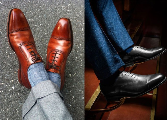 shoes for a black tie optional event, brown leather brogues, worn with grey socks, and grey woolen trousers, black oxford shoes, worn with black socks, and navy trousers