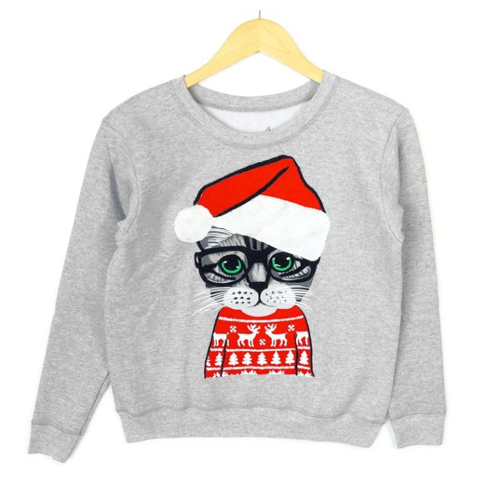 cute ugly christmas sweater, in light grey, with an image of a tabby kitten, wearing a red and white xmas jumper, and a santa's hat