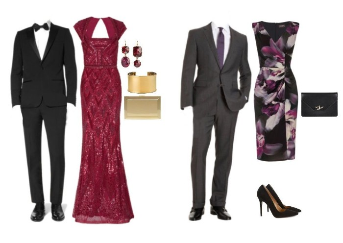 answering the question, what is cocktail attire for men, black suit with a white shirt, and a black bowtie, dark grey suit, with a white shirt, and a violet necktie, red sparkly gown, midi dress in black, with floral motifs