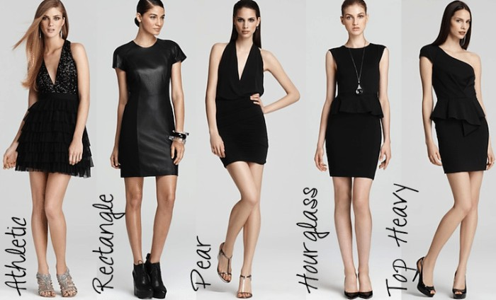 five examples of black mini dresses, for different body shapes, flared and a line, halter neck and one shoulder, black tie optional wedding outfts for women, lace and faux leather, frills and sequins