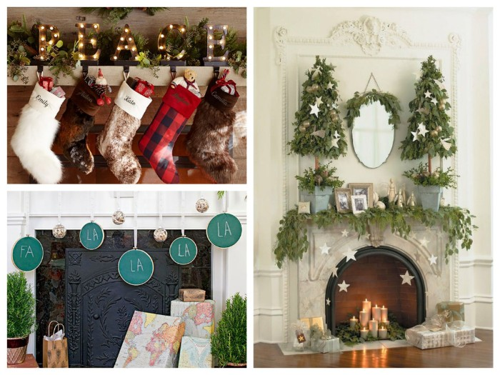 three fireplace decor ideas, five stockings made of fabric, or faux fur, stuffed with small toys, a vintage style white fireplace, featuring star-shaped decorations and greenery, presents placed near an ornate fireplace grate