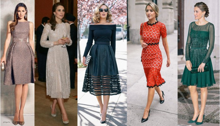 kate middleton and four other women, wearing smart knee-length and midi dresses, in grey and silver, dark teal and green, and red and white, what is cocktail attire, sequins and embroidery