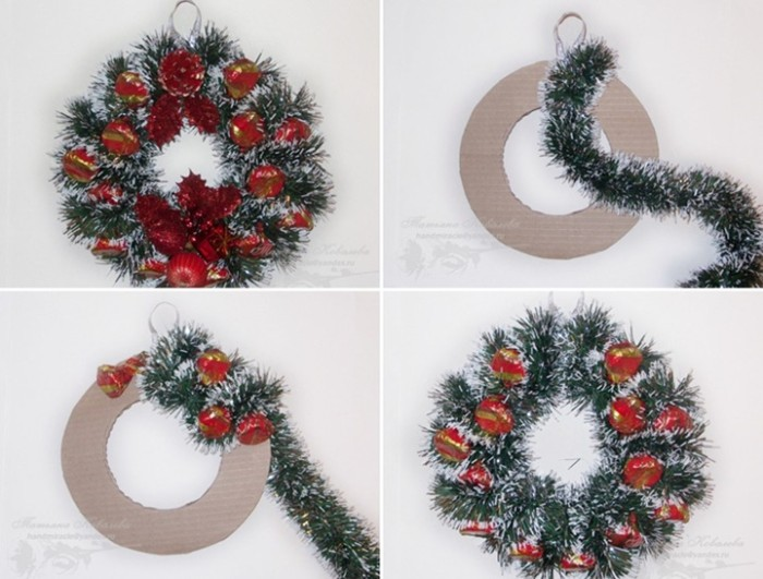 four images showing how to make a christmas wreath, sticking a green fuzzy garland, decorated with faux snow, on a light beige cardboard hoop, and adding red and gold christmas ornaments