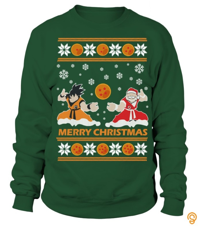 snowflakes in white, and dragon balls in orange, on a dark green jumper, featuring santa clause, and goku from dragon ball z, ugly sweater party, inspired by anime