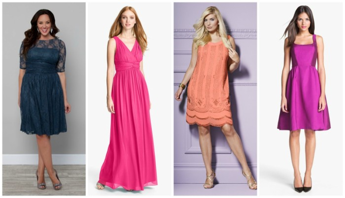 dresses with differenr designs, in four different colors, green lace knee-length dress, pink long gown, peach above-the-knee dress, with gold embroidery, silky purple knee-length dress, what is semi formal attire