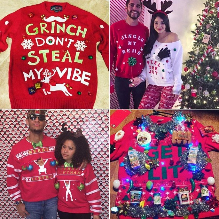 four ways of creating a diy ugly christmas sweater, red jumper with the words grinch don't steal my vibe, couples dressed in complementary sweaters, a red jumper, decorated with glowing christmas lights, garlands and more