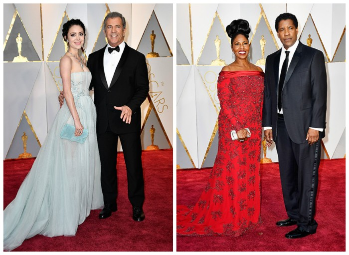 denzel washington and his wife, wearing a black suit, with a white shirt, and a black necktie, and a red gown, with grey embroidery, what is cocktail attire for men, mel gibson wearing a black suit, with a white shirt and a black bowtie, young woman in a pale blue strapless gown