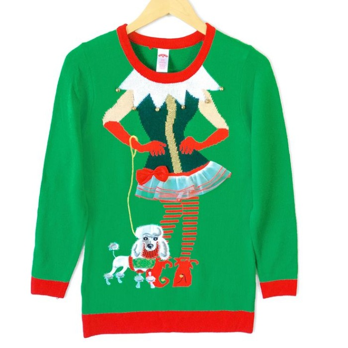 toy poodle on a leash, held by a female elf, dressed in tacky clothes, image on a green jumper, with red trims around its collar, cuffs and hem, girls ugly christmas sweater, on a white background