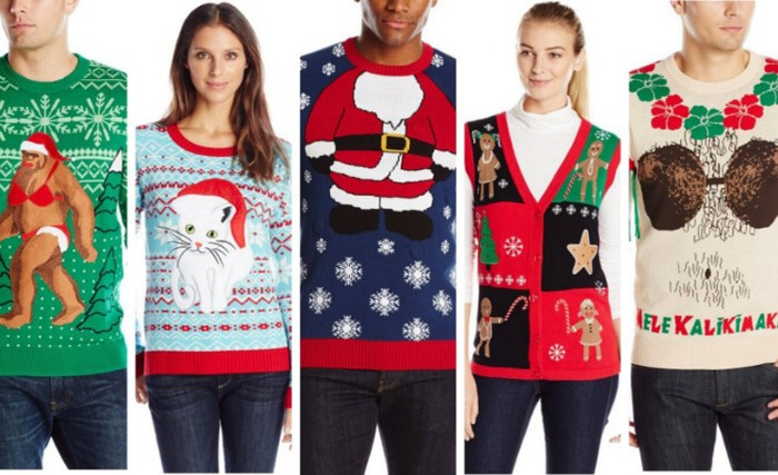 suggestions for ugliest christmas sweater, green jumper with bigfoot in a bikini, pale blue sweater with a kitten in a santa hat, dark navy jumper, with santa's body, and others