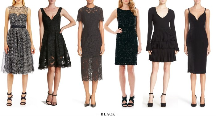 options for black formal dresses, what is cocktail attire, midi with white lace mesh, above-the-knee with flared design, midi with lace, mini with sequins, long-sleeved with frills, classic strappy midi