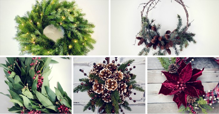 details on five different wreath ideas, small glowing string lights, pinecones and tiny red berries, a large dark red poinsettia flower