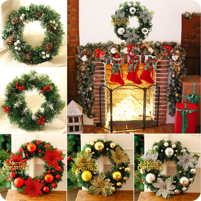 collage with six images, the largest one depicts a glowing fireplace, with a mentel decorated for christmas, featuring garlands and stockings, and a round green wreath, with silver and gold motifs, christmas wreath images, the other images show five different wreaths