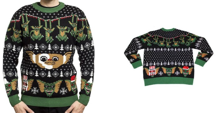 vintage style cute ugly christmas sweater, with good and evil gremlins, surrounded by white snowflakes and christmas trees