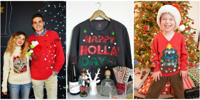 ideas for ugliest christmas sweater, couple dressed in diy festive jumpers, a black holiday sweater, with a festive messgae, a smiling child, wearing a handmade, red xmas jumper, with a christmas tree