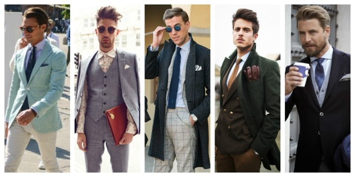winter and summer ideas, for men's smart outfits, cocktail attire wedding, pale blue blazer, white shirt and white trousers, grey tweed three piece suit, and other combinations