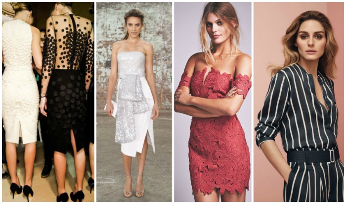 slim women dressed in different outfits, what is semi formal attire, white wiggle dress with lace, black embroidered dress with a sheer back, silver and white midi strapless dress, red lace mini dress, and a black and white striped jumpsuit