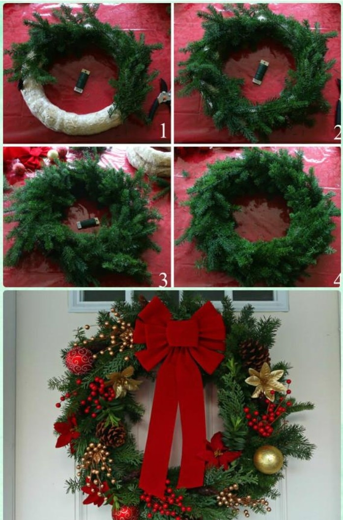 five step photo tutorial, showing how to make a christmas wreath, sticking pine branches, onto a white hoop, and decorating it with a red bow, and other red and gold ornaments