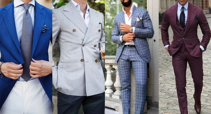 electric blue blazer, worn over a pale blue shirt, and white trousers, with a patterned blue tie, marron three piece suit, semi formal wedding attire, checkered blue suit, pale stone grey blazer, with dark navy trousers