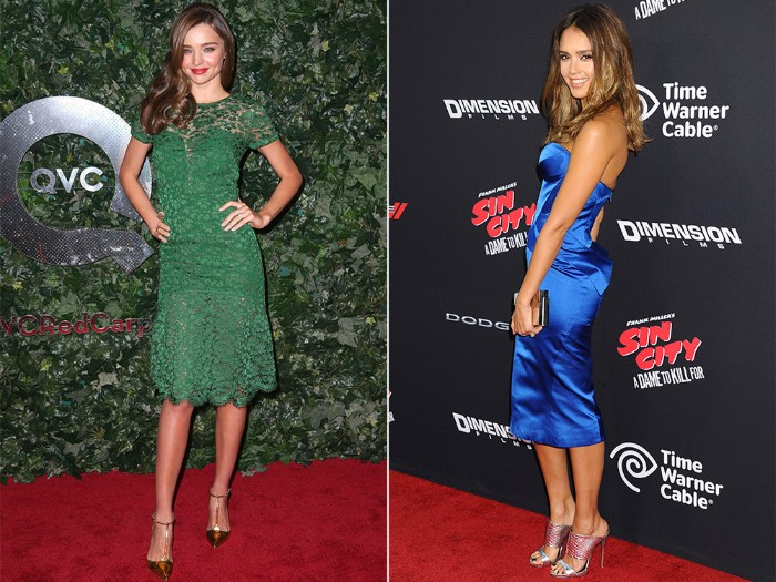 jessical alba wearing a silky, electric blue strapless midi dress, cocktail attire for women, miranda kerr in a knee-length, green lace dress