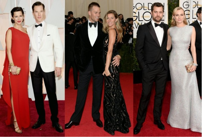 gowns in red, black and silver, and sparkling off-white, cocktail attire wedding, black suits worn with white shirts, and black bowties, black trousers and a white shirt, with a black bowtie, and a white dinner jacket