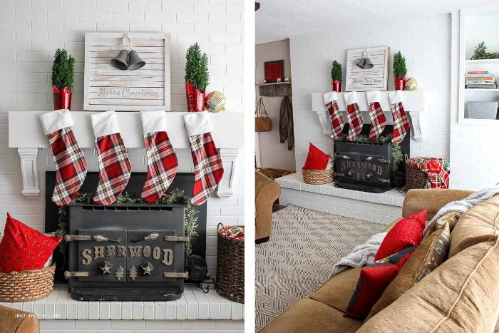 tartan stockings in red and white, hanging on a small, wooden mantel in white, suspended above a black fireplace, mantel decor, inside a bright room