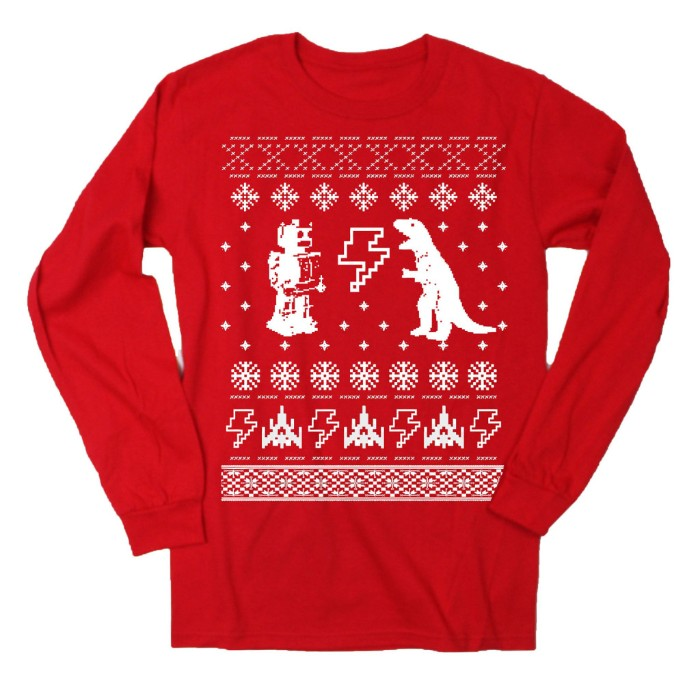 robot and a dinosaur, snoflakes and lightning bolts, stars and little space ships, printed in white, on a cute ugly christmas sweater, with a white background