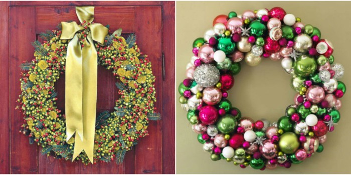 wreath ideas in two photos, a fir branch wreath, decorated with multiple, yellow and red, and a wreath, made from christmas tree baubles, in different colors