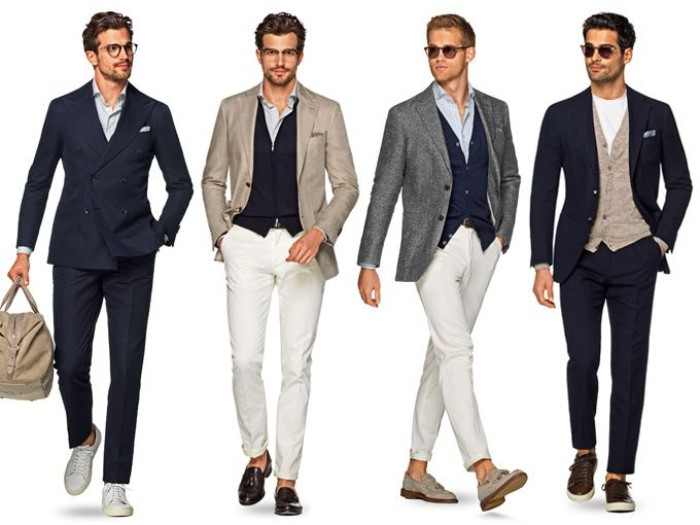 examples of smart clothes for men, dark navy suit, white trousers and blazers in beige and grey, vests in black, navy and beige, what is cocktail attire for men, answered with four outfits