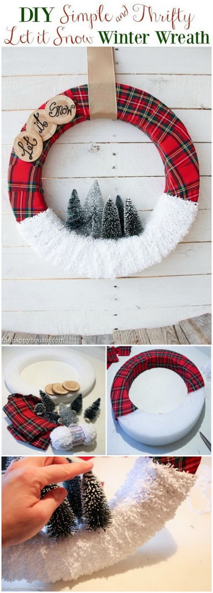 photo tutorial showing how to make a christmas wreath, white styrofoam hoop, wrapped in red tartan fabric, and white gauze, and decorated with small, christmas tree figurines