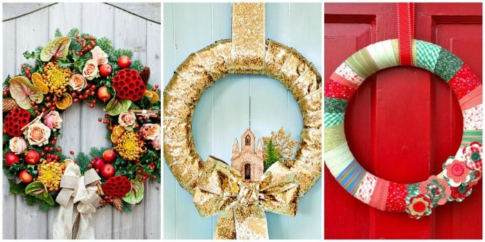 three examples of christmas wreath ideas, multicolored wreath with faux flowers, a gold-colored wreath, with a small church figurine, a multicolored wreath made with washi tape
