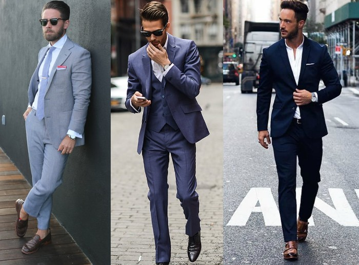 medium and light grey suits, and a navy blue , worn by three young men, with different accessories, what is cocktail attire for men, pale grey tie, medium grey vest, brown loafers and smart black shoes