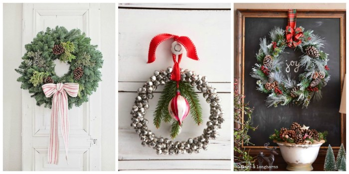 diy christmas wreath examples, in three photos, a classic fir leaf wreath with a bow, a thin wreath, made with christmas tree ornaments, a pine leaf wreath, decorated with pinecones