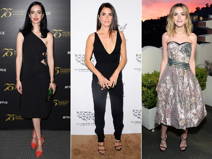 ideas for women's outfits, for a black tie optional wedding, insired by the red carpet, black one-shoulder midi dress, smart black jumpsuit, silky silver embroidered, midi strapless dress